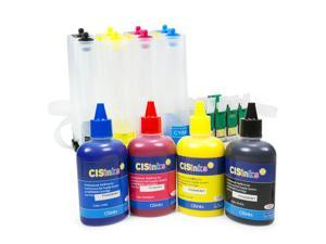 Cisinks ® Empty Continuous Ink Supply System With PIGMENT Ink Bottle Set for Epson Expression XP-200 XP-300 XP-400 Workforce WF2520 WF2530 WF2540 Printers CISS CIS