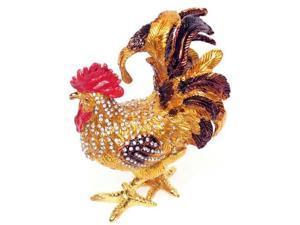 Cisinks ® Big Rooster - Bejeweled Crystal diamond Jewelry Trinket Box JF3827-2
