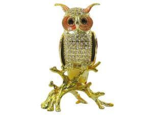 Cisinks ® Owl- Bejeweled Crystal diamond Jewelry Trinket Box (L)JF1676