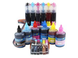Cisinks ® Continuous Ink Supply System With Ink Bottle Set for Epson Expression Photo XP-850 XP-950 XP-860 Printers CISS CIS