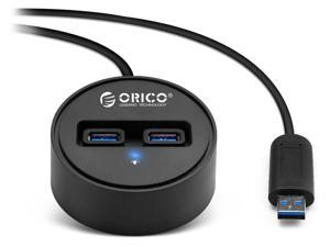 Orico DCU3-2P Dual-Port USB 3.0 Hub with 3.3-Ft USB 3.0 Extension Cable (Black)