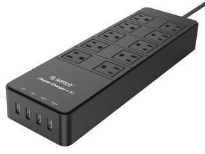 ORICO 10 Outlets Power Strip with Surge Protector, Built-in 5 ft. Cord, 4 USB Intelligence Charging Ports (2 x 5V 2.4A + 2 x 5V 1A) for iPhone, iPad, Samsung Galaxy S6 / S6 Edge, Nexus and More - (TPC