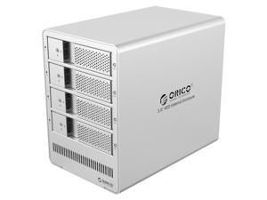 "[with RAID Function] ORICO Tool Free Aluminum 4 Bay USB 3.0 to 3.5"" SATA HDD Enclosure  Support RAID 0/1/3/5/10/ Combine/ Clear Mod for Laptop Mac OS X/Windows [Support 4 x 8TB Max] - Silver(9548RU3)"