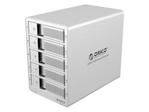 ORICO Aluminum 5 bay 3.5 inch USB3.0 to SATA HDD Docking Station Enclosure  with RAID Function Support RAID 0/ 1/ 3/ 5/ 10/ Combine/ Clear Mode [Support UASP and 5*8TB Drive Max ] -Silver (9558RU3-US)