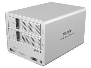 Orico 9528U3 Aluminum Dual Bay 3.5-Inch SATA Hard Drive USB 3.0 HDD Enclosure Case, 8TB Support - Sliver