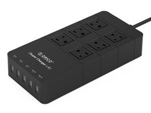 ORICO HPC-6A5U 40W 6-Outlet Power Strip with Surge Protector, 5 USB Intelligence Charging Ports - Black