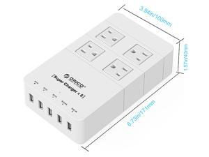 ORICO HPC-4A5U 4 Outlet Power Strip with Surge Protector, 5 USB Intelligence Charging Ports (3 x 5V1A,2 x 5V2.4A) - White