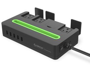 ORICO DST-4A5U 4 Outlet Power Strip with Surge Protector - Built-in 5 Ft. Cord, 5 USB Intelligence Charging Ports (5V2.4A) - Black