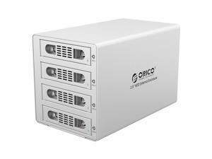 "ORICO (3549RUS3-V1-US) Aluminum Tool Free 4 Bay USB3.0 & eSATA & RAID 0 / 1 / 3 / 5 / 10 3.5"" SATA Hard Drive HDD Enclosure - Silver"