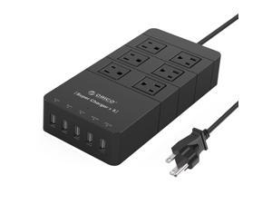 ORICO  40W 6-Outlet Power Strip with Surge Protector, 5 USB Intelligence Charging Ports for  iPhone7 /7Puls/ 6S/6S P/5SE/iPad/LG/Samsung/HTC and More - Black (HPC-6A5U)