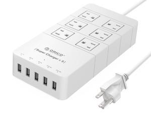 ORICO 40W 6 Outlet Power Strip with 5 USB Charging Ports for iPhone, iPad, Samsung Galaxy S6 / S6 Edge, Nexus, HTC M9, Motorola, LG and More - White(HPC-6A5U-US)