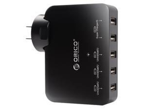 ORICO DCAP-5U 5-Port USB Wall Charger Adapter for iPhone 7/7Puls/6S/6S P/5SE/iPad/LG/Samsung/HTC/Nexus and More - Black