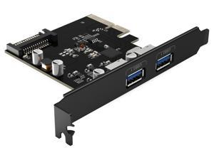 ORICO USB3.1(GEN 2) PCI-E Expansion Card Adapter with 2 Ports External PCI-E Express Superspeed 10Gbps Support 15PIN Power Connector Support PCI Express x4, x8 or x16 Slot for Windows XP,Vista,and Lin