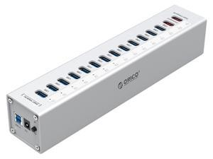 ORICO Aluminum 13 Ports Multi USB3.0 HUB Splitter and 2 USB Charging Ports with US Plug LED Indicator,includ 3.3Ft USB3.0 Date Cable - Sliver ( A3H13P2-US )