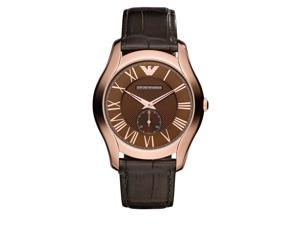 Armani AR1705 Rose Gold Tone Stainless Steel Case Leather Strap Brown Tone Dial