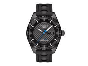 Tissot PRS 516 Automatic Gent T100.430.37.201.00 Black Carbon/Black Leather Analog Automatic Men's Watch
