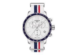 Tissot Quickster Nato Chronograph T095.417.17.037.09 White/White with Blue and Red Stripe Nylon Analog Quartz Men's Watch
