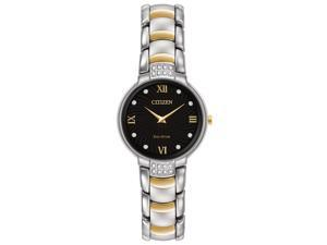 Citizen  EX1464-54E Black/Two-Tone (Silver / Gold) Stainless Steel Analog Eco-Drive Women's Watch