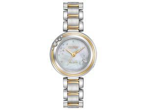Citizen Citizen L Carina EM0464-59D Silver Diamond/Two-Tone (Silver / Gold) Stainless Steel Analog Eco-Drive Women's Watch
