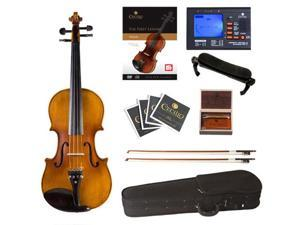 Cecilio 4/4 CVN-500 Antique Flamed Ebony Violin Package with Case, Tuner, Accessories & Lesson Book + DVD