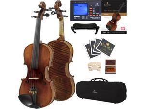 Cecilio Full Size 4/4 CVN-600 Hand Oil Rubbed Highly Flamed 1-Piece Professional Violin with Case, Tuner, Accessories & Lesson Book + DVD