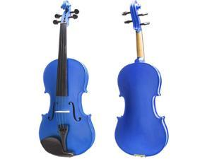 Cecilio Full Size 4/4 CVN-Blue Ebony Fitted Solid Wood Metallic Blue Violin with Case, Tuner, Accessories & Lesson Book + DVD