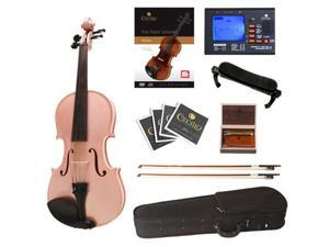 Cecilio Full Size 4/4 CVN-Pink Ebony Fitted Solid Wood Metallic Pink Violin with Case, Tuner, Accessories & Lesson Book + DVD
