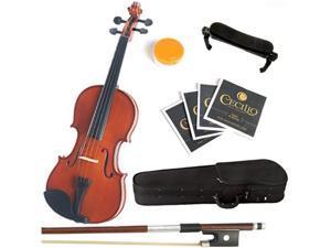 Cecilio Mendini Full Size 4/4 MV200 Natural Finish Solid Wood Violin Package + Bow, Hardcase, Shoulder Rest, 2 Bridges, 2 Sets Violin Strings & Rosin