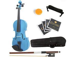 Mendini  1/4 MV-Blue Solid Wood Metallic Blue Violin + Hard Case, Shoulder Rest, Bow, Rosin & Strings