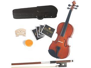 """Mendini by Cecilio 16"""" MA250 Natural Finish Solid Wood Viola with Case, Bow, Rosin, 2 Bridges and Extra Strings"""