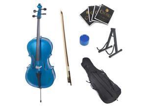Cecilio 4/4 CCO-Blue Student Cello in Blue Metallic with Soft Case, Bow, Rosin, Bridge, Strings & Cello Stand (Full Size)