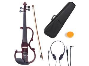Cecilio 4/4CEVN-2NA 4/4 Full Size Electric Silent Solidwood Violin w/ Ebony Fittings in Style 2 - Metallic Mahogany