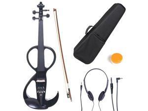 Cecilio 4/4CEVN-3BK 4/4 Full Size Electric Silent Solidwood Violin w/ Ebony Fittings in Style 3 - Metallic Black