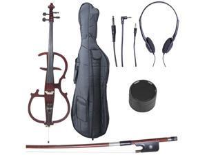 Cecilio CECO-2DW Full Size 4/4 Ebony Electric Silent Metallic Mahogany Cello in Style 2 +Soft Case, Bow & Accessories