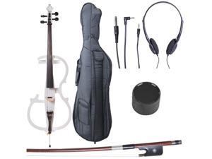 Cecilio CECO-2WH Full Size 4/4 Ebony Electric Silent Pearl White Cello in Style 2 +Soft Case, Bow & Accessories