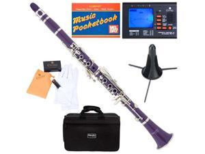 MCT-P B Flat Purple ABS Clarinet w/ Case, Tuner, Stand, Mouthpiece, Box of 10 Reeds, Cork Grease, & a Pair of Gloves
