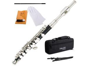 Mendini MPO-EN Ebonited ABS Key of C Piccolo with Nickel Plated Keys + Deluxe Case, Gloves, Joint Grease, Cleaning Rod & Cloth
