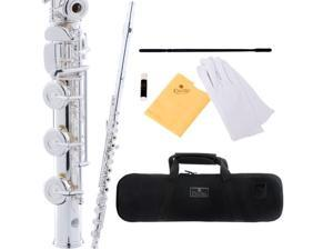 Cecilio 3Series FE-380S Intermediate Silver Plated Open / Closed-Hole Key of C Flute with B Foot Joint + Case & Accessories