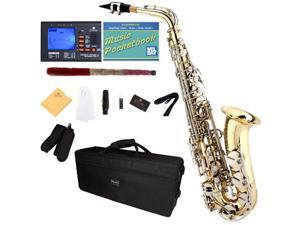 Mendini by Cecilio MAS-LN+92D+PB Gold Lacquered Body with Nickel Plated Keys E Flat Alto Saxophone - with Tuner, Case, Mouthpiece, 10 Reeds and More