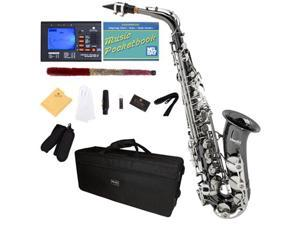 Mendini by Cecilio MAS-BNN+92D+PB Black Nickel Plated with Nickel Keys E Flat Alto Saxophone with Tuner, Case, Mouthpiece, 10 Reeds and More