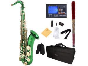 Mendini by Cecilio MTS-GL+92D Green Lacquered B Flat Alto Saxophone with Tuner, Case, Mouthpiece, 10 Reeds and More