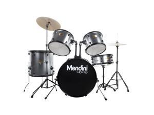MDS80-SR Complete Full Size Senior 5-Piece 6-Ply Birch Wood Silver Drum Set with Cymbals, Drumsticks and Throne