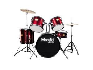 MDS80-BR Complete Full Size Senior 5-Piece 6-Ply Birch Wood Bright Red Drum Set with Cymbals, Drumsticks and Throne