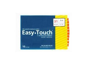 Easy Touch Insulin Syringes 31 Gauge .5cc 5/16 in - 10 ea.