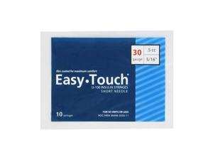 Easy Touch Insulin Syringes 30 Gauge .5cc 5/16 in - 10 ea.