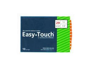 Easy Touch Insulin Syringes 29 Gauge 1cc 1/2 in - 10 ea.
