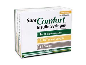 Sure Comfort Insulin Syringes - 31 G, 1 cc, 5/16 in - 100 ea - 22-6510