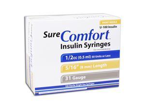 Sure Comfort Insulin Syringes - 31 G, 0.5 cc, 5/16 in - 100 ea - 22-6505