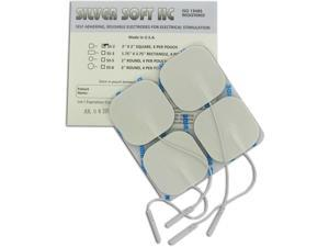 SilverSoft HC Premium TENS Silver Electrodes 2x2 in Square, White Foam Backed - 4 ea