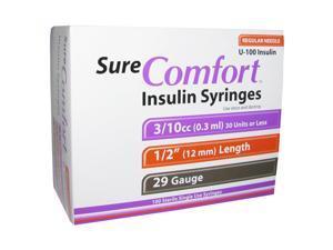 Sure Comfort Insulin Syringes 29 Gauge 3/10cc 1/2 in - 100 ea